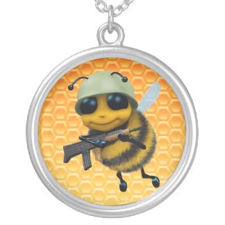 3d Bee Soldier Round Pendant Necklace