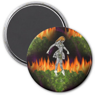 3D Biomechannequin Seamless Fire & Candycorn 3 Inch Round Magnet