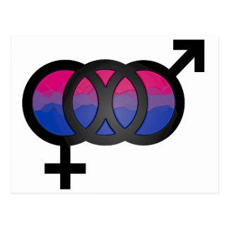 3D Bisexual Symbol Postcard