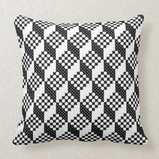 3D black and white cross-stitch cubes pattern Throw Pillow