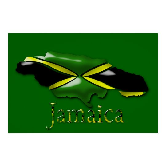 3D Black Green Yellow Gold Map Of Jamaica  Poster