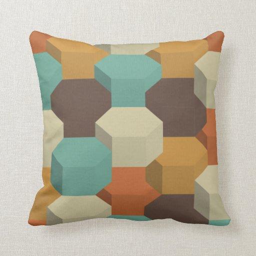 3d Blox pattern retro color pillow
