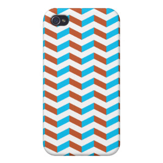 3D blue and red chevron Cover For iPhone 4