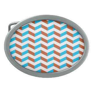 3D blue and red chevron Oval Belt Buckle