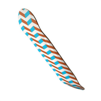 3D blue and red chevron Skateboard Deck
