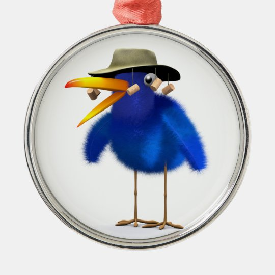 3d Blue Bird Australian Metal Ornament