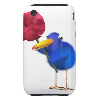 3d Blue Bird Red Rose iPhone 3 Tough Case