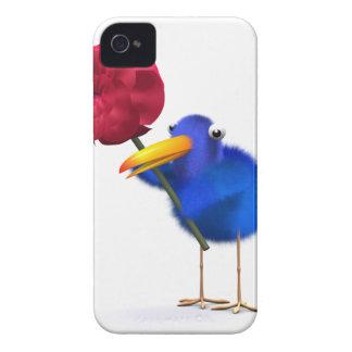 3d Blue Bird Red Rose iPhone 4 Cases