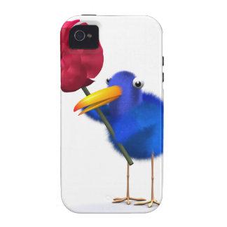 3d Blue Bird Red Rose iPhone 4 Case