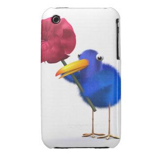 3d Blue Bird Red Rose iPhone 3 Case-Mate Cases