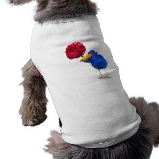 3d Blue Bird Rose Doggie Tee Shirt