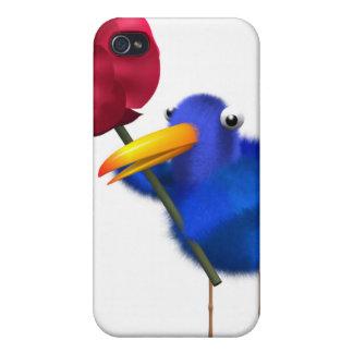 3d Blue Bird Rose iPhone 4 Cases