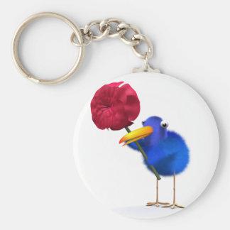 3d Blue Bird Rose Key Chain