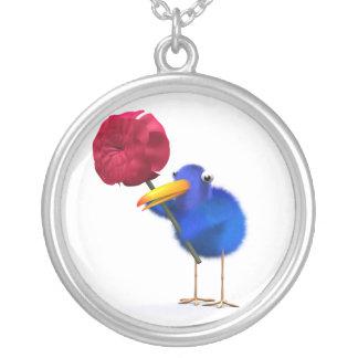 3d Blue Bird Rose Necklaces