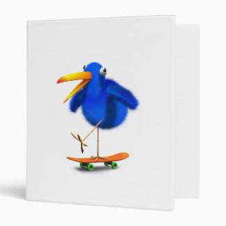 3d Blue Bird Skateboarder Binder