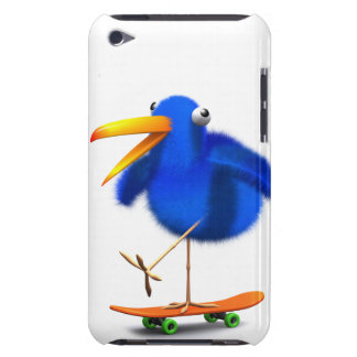 3d Blue Bird Skateboarder Barely There iPod Cases