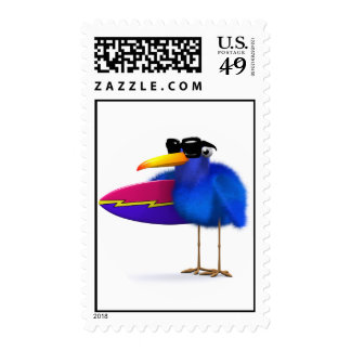 3d Blue Bird Surfboard Stamp