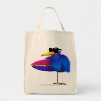 3d Blue Bird Surfboard Tote Bag