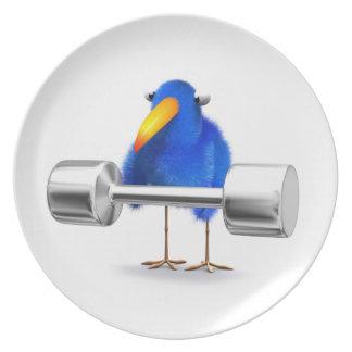 3d Blue Bird Weightlifter Dinner Plates
