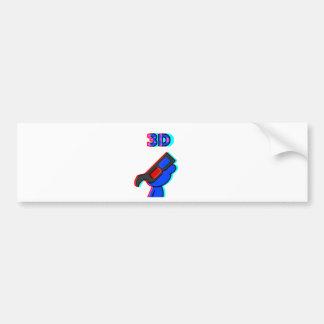 3D Blue Bumper Sticker