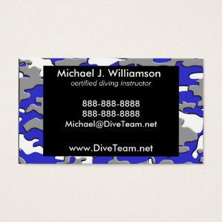 3d blue camo business card