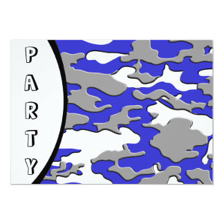 "3d blue camo 5"" x 7"" invitation card"