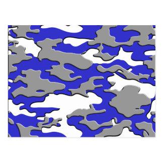 3d blue camo postcard