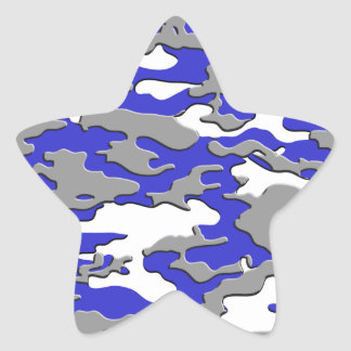 3d blue camo star sticker