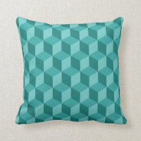 3D Blue Geometric Cube Pattern Throw Pillow