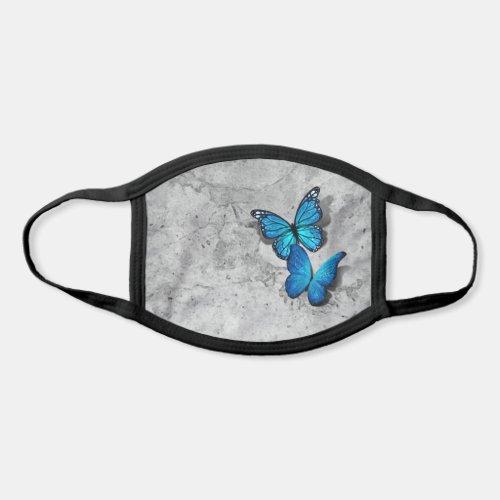 3D Blue Monarch Butterflies Gray Stone Watercolor Face Mask