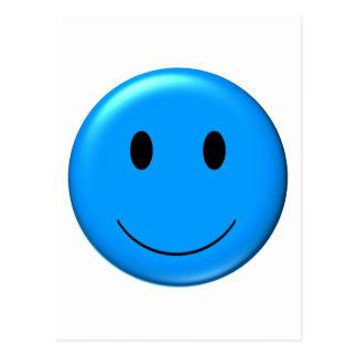 3D Blue Smiley Postcard