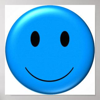 3D Blue Smiley Print
