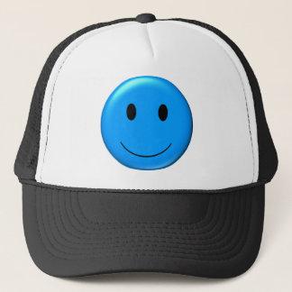 3D Blue Smiley Trucker Hat