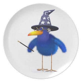 3d Bluebird Cute Wizard Dinner Plate
