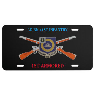 3D BN 41ST INFANTRY 1ST ARMORED LICENSE PLATE