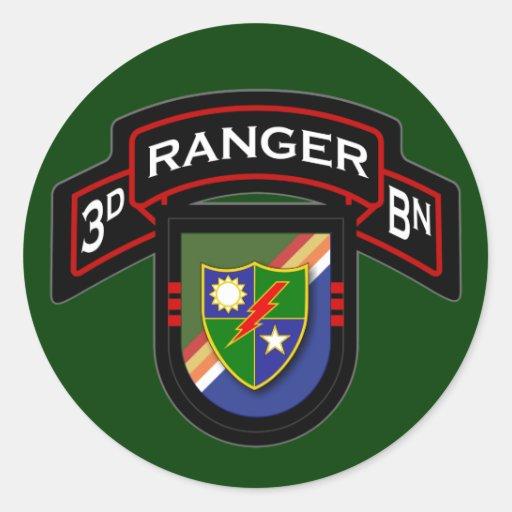 3d Bn, 75.o regimiento de guardabosques - Pegatina Redonda