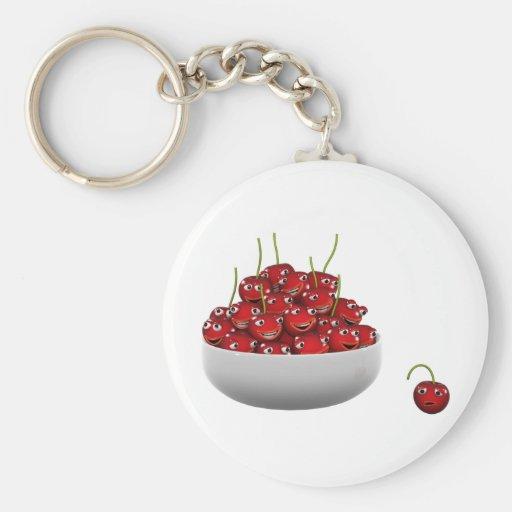 3d Bowl of Cherries laugh Basic Round Button Keychain