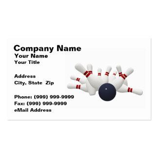 3D Bowling Ball Striking Pins (on White BG) Business Card