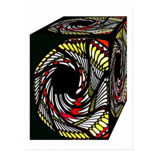 3D Box Cube Pattern in Yellow, Red and Black Postcard