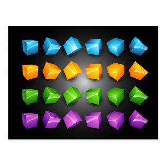 3D-Boxes-Vector-Set BLUE, ORANGE GREEN PURPLE SHAP Postcard