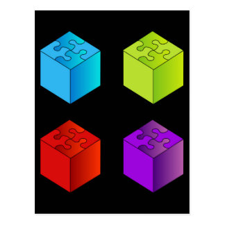 3d boxes with puzzle roof postcard