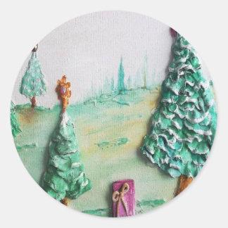 3D BRILLO L@@K de árboles de navidad y de regalos Pegatina Redonda