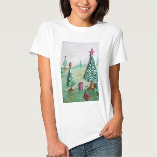 3D BRILLO L@@K de árboles de navidad y de regalos Poleras