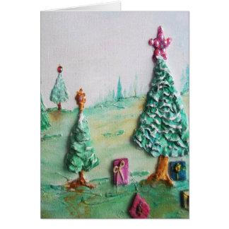 3D BRILLO L@@K de árboles de navidad y de regalos Tarjeta De Felicitación