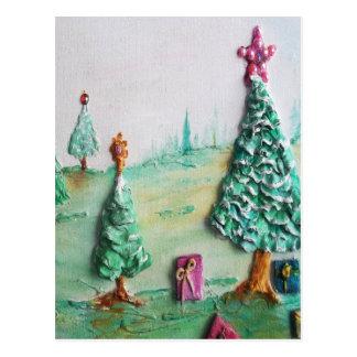 3D BRILLO L@@K de árboles de navidad y de regalos Tarjetas Postales