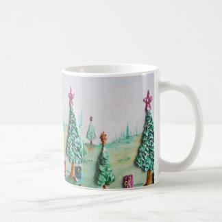 3D BRILLO L@@K de árboles de navidad y de regalos Taza