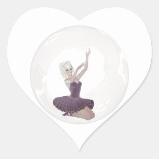 3D Bubble Ballerina 2 Heart Sticker