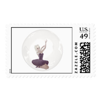 3D Bubble Ballerina 2 Postage Stamps
