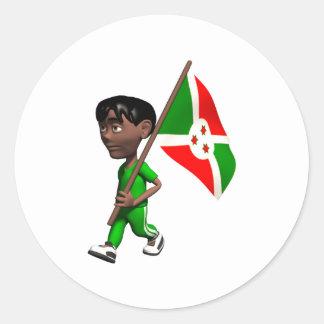 3D Burundi Classic Round Sticker