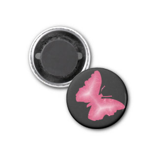 3D   BUTTERFLY 1 INCH ROUND MAGNET